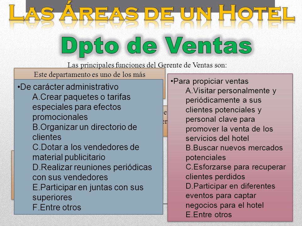 Las principales funciones del Gerente de Ventas son: