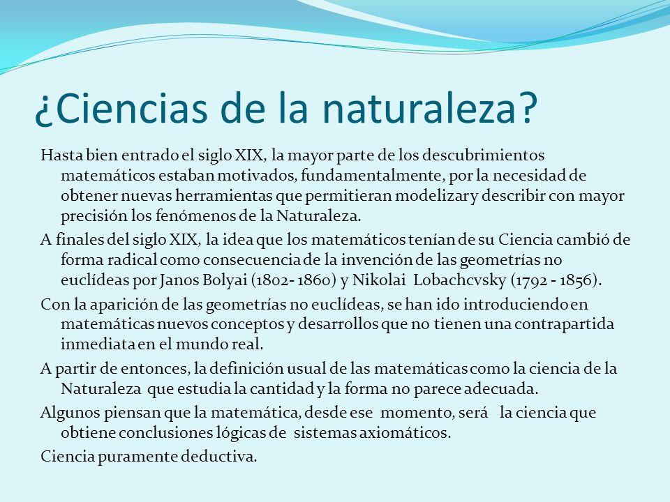 ¿Ciencias de la naturaleza