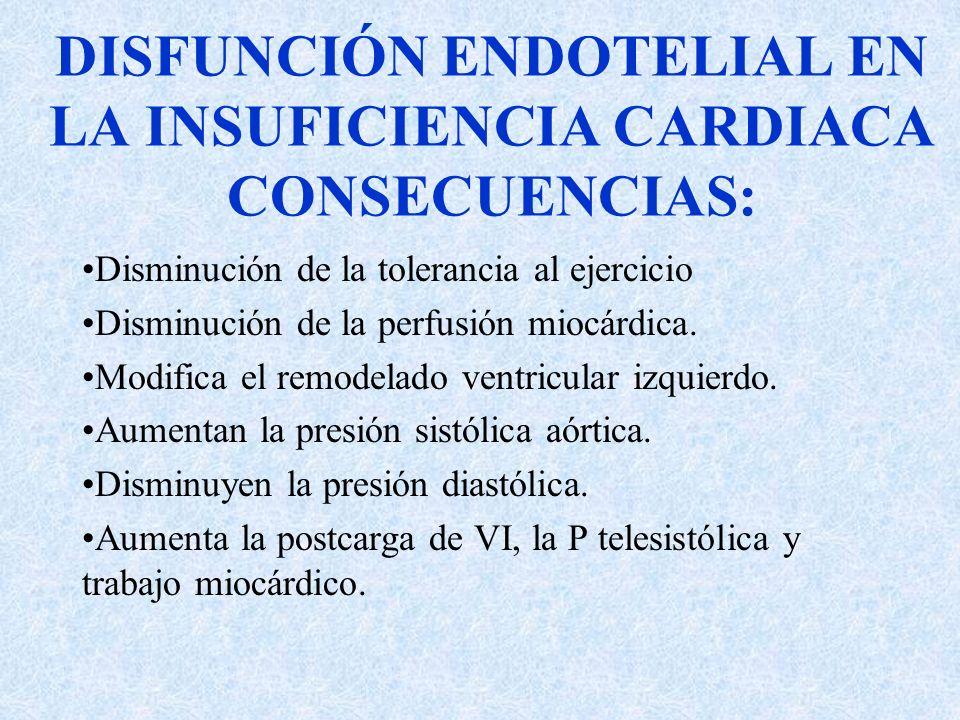 DISFUNCIÓN ENDOTELIAL EN LA INSUFICIENCIA CARDIACA CONSECUENCIAS: