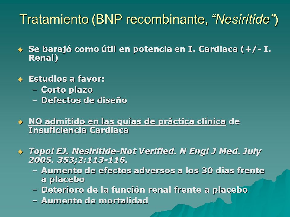 Tratamiento (BNP recombinante, Nesiritide )