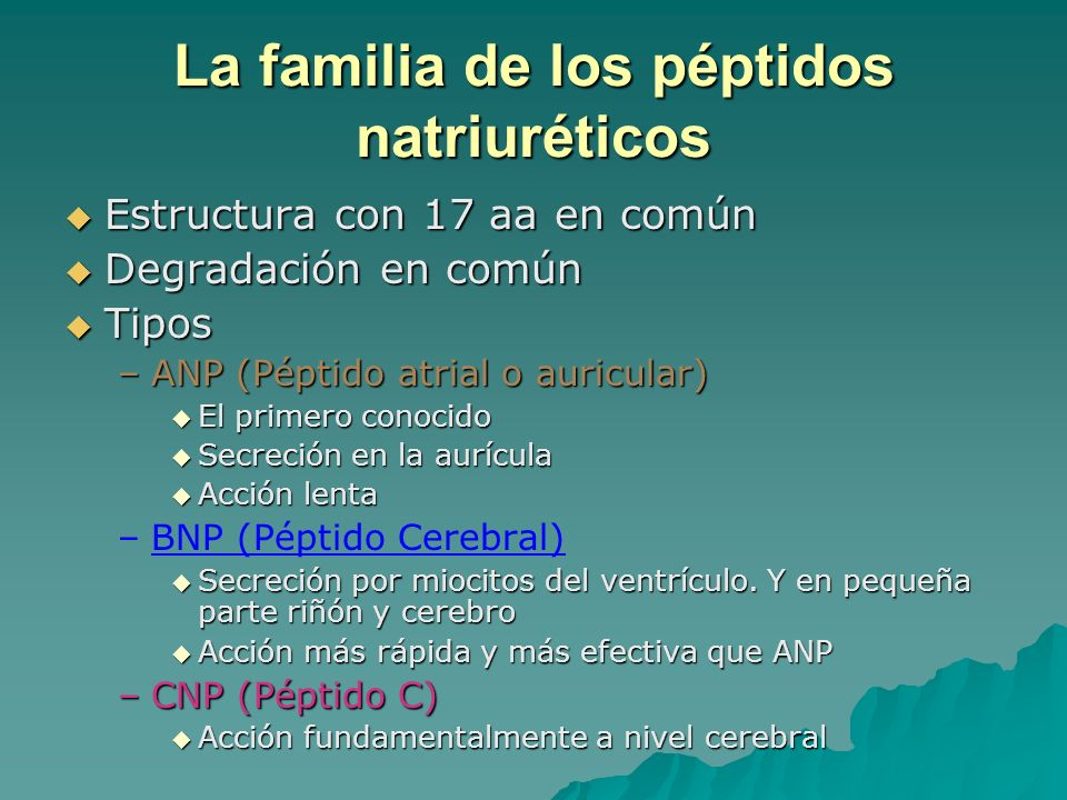 La familia de los péptidos natriuréticos