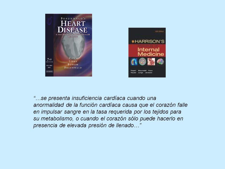 …se presenta insuficiencia cardíaca cuando una anormalidad de la función cardíaca causa que el corazón falle en impulsar sangre en la tasa requerida por los tejidos para su metabolismo, o cuando el corazón sólo puede hacerlo en presencia de elevada presión de llenado…