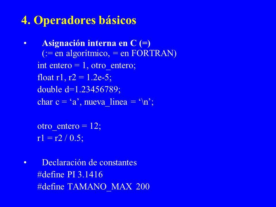 4. Operadores básicos Asignación interna en C (=) (:= en algorítmico, = en FORTRAN) int entero = 1, otro_entero;