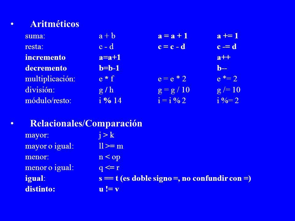 Relacionales/Comparación