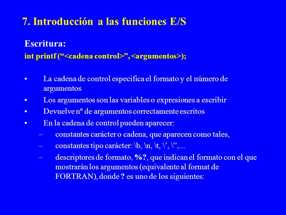 7. Introducción a las funciones E/S