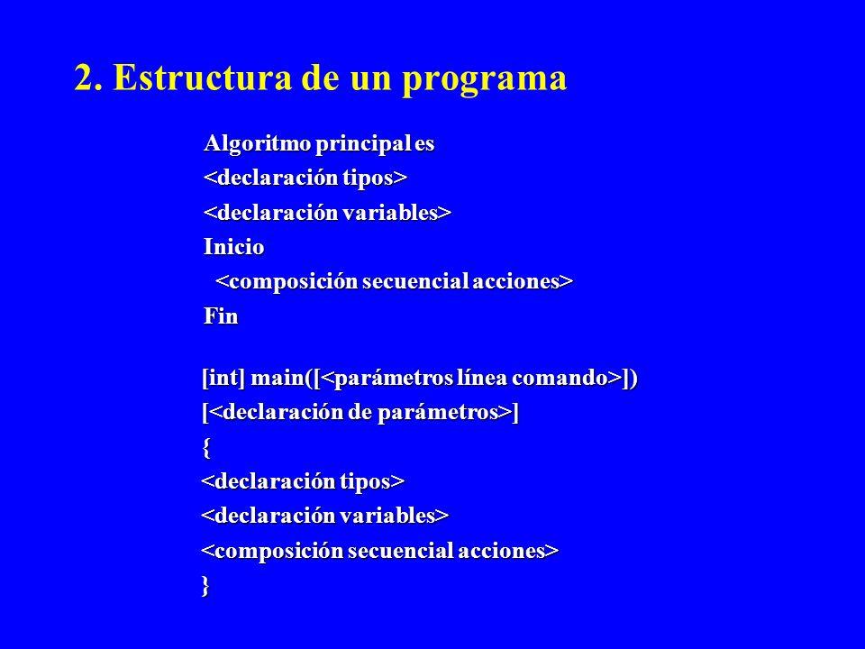 2. Estructura de un programa