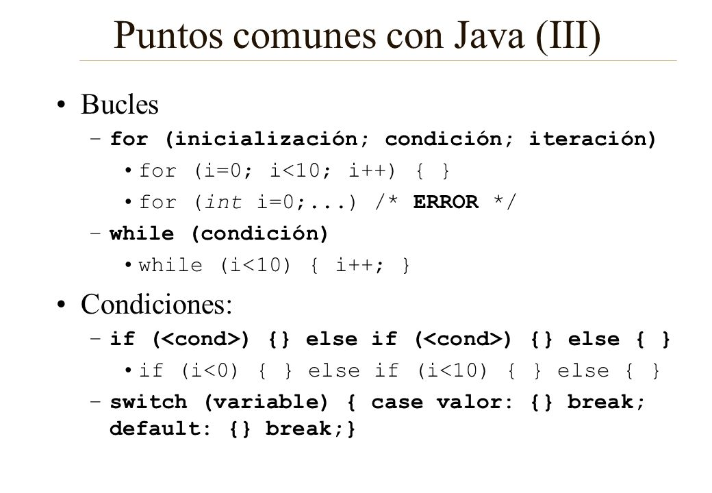 Puntos comunes con Java (III)