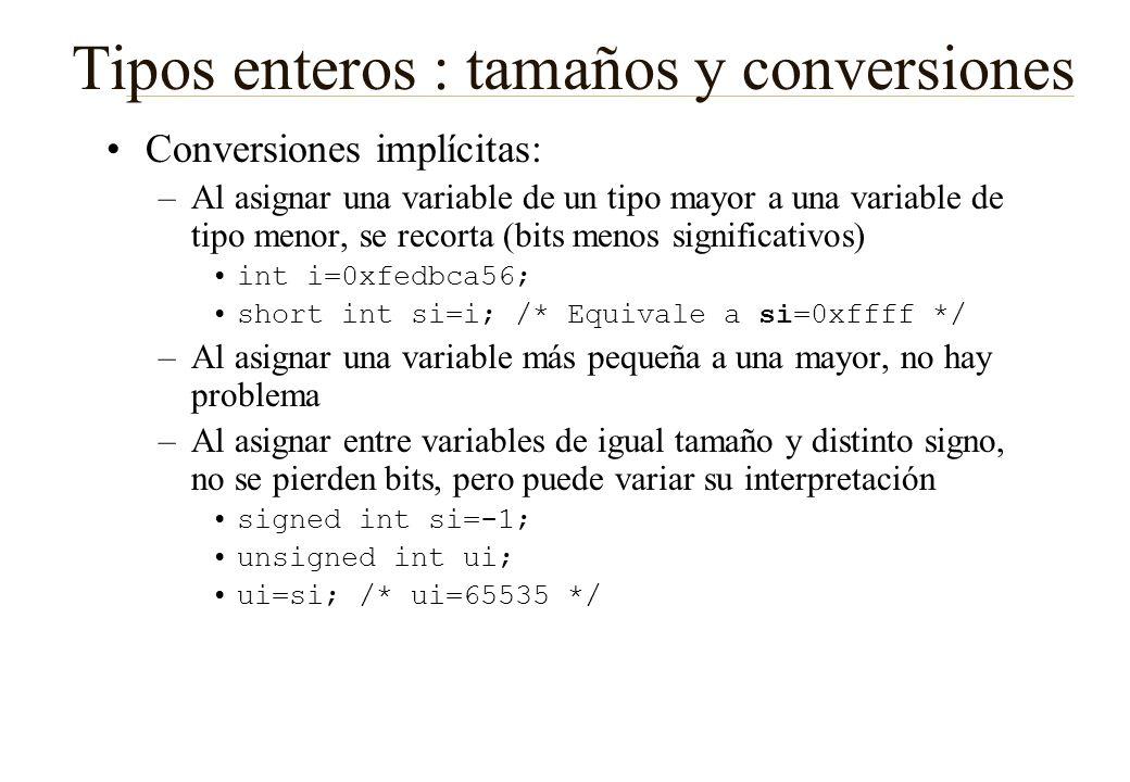 Tipos enteros : tamaños y conversiones