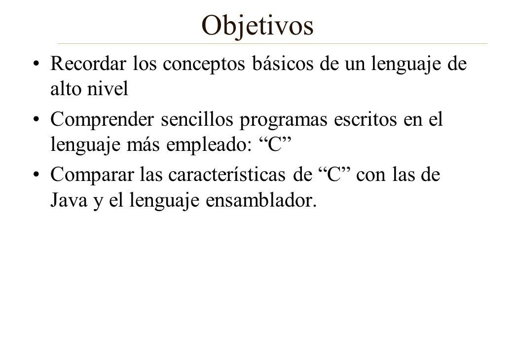 Objetivos Recordar los conceptos básicos de un lenguaje de alto nivel