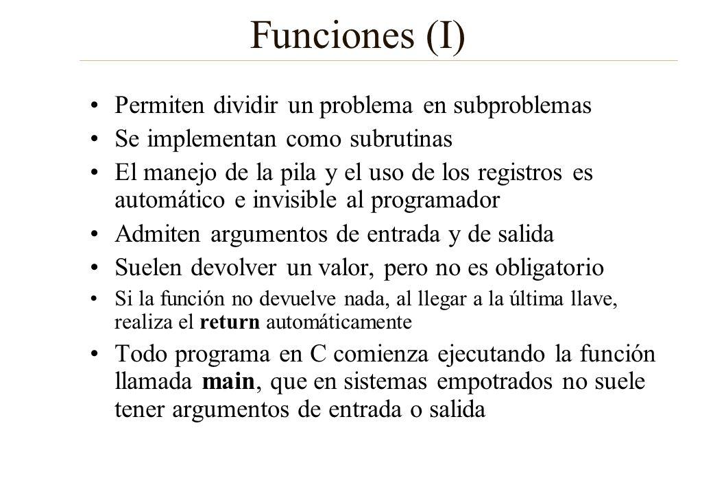 Funciones (I) Permiten dividir un problema en subproblemas