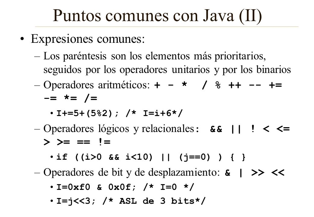 Puntos comunes con Java (II)
