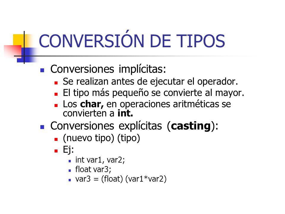 CONVERSIÓN DE TIPOS Conversiones implícitas: