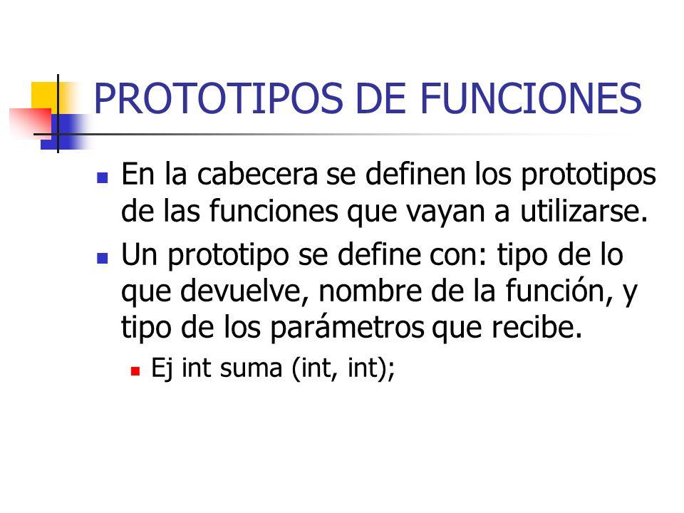 PROTOTIPOS DE FUNCIONES
