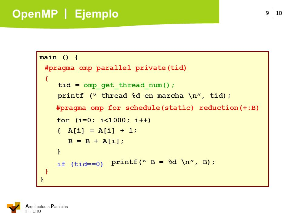 Ejemplo main () { #pragma omp parallel private(tid) {