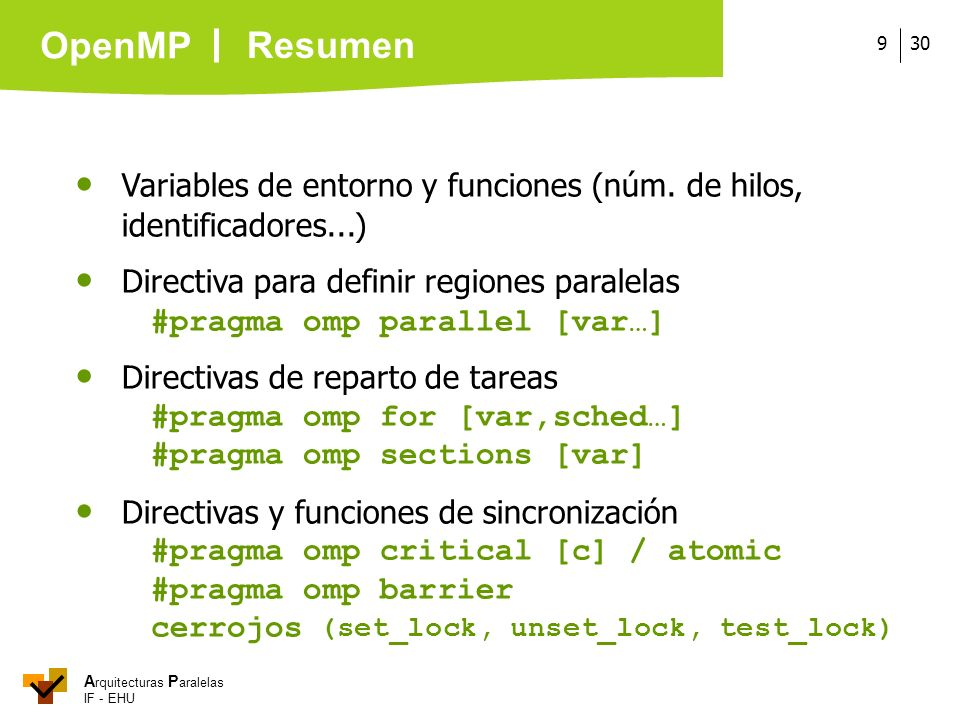 Resumen  Variables de entorno y funciones (núm. de hilos, identificadores...)  Directiva para definir regiones paralelas.