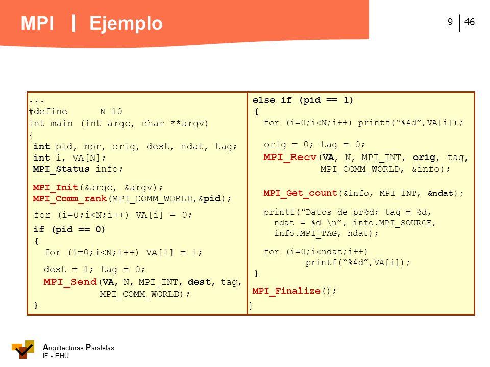 Ejemplo ... #define N 10 int main (int argc, char **argv) {