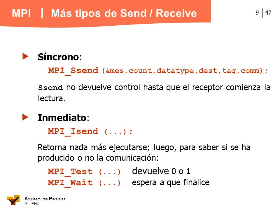 Más tipos de Send / Receive