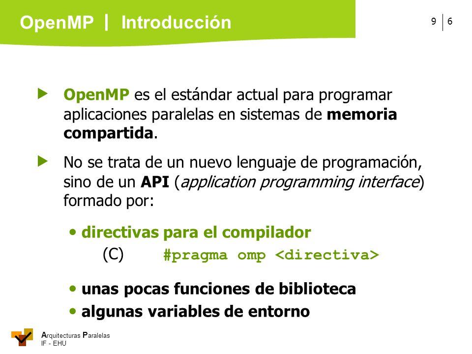 Introducción  OpenMP es el estándar actual para programar aplicaciones paralelas en sistemas de memoria compartida.