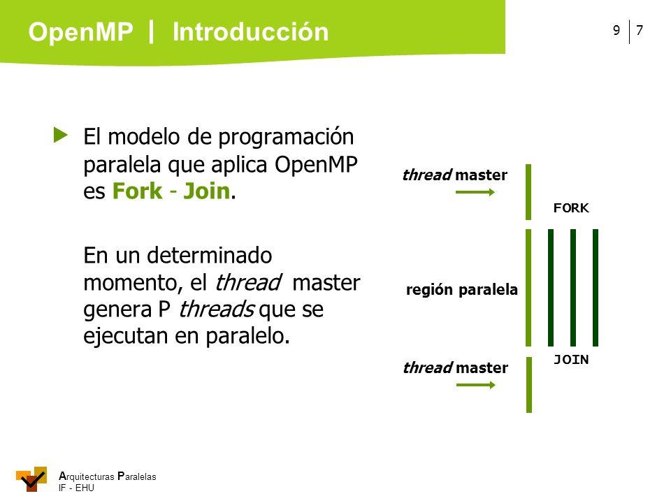  El modelo de programación paralela que aplica OpenMP es Fork - Join.