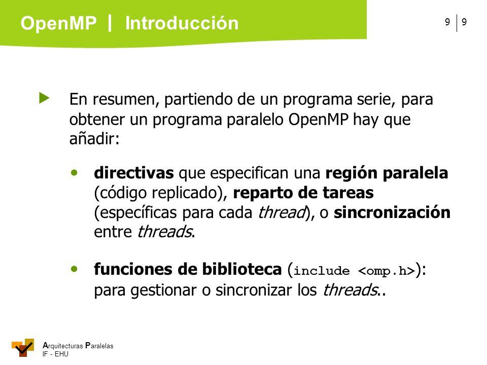 Introducción  En resumen, partiendo de un programa serie, para obtener un programa paralelo OpenMP hay que añadir: