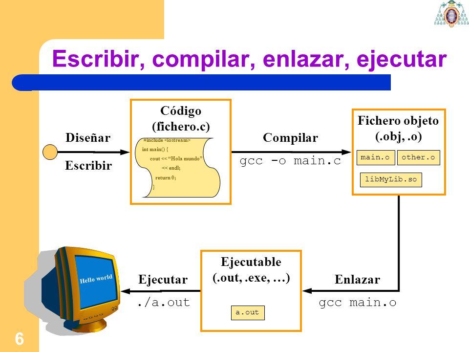 Escribir, compilar, enlazar, ejecutar