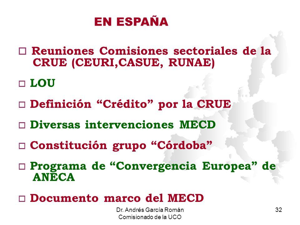Dr. Andrés García Román Comisionado de la UCO