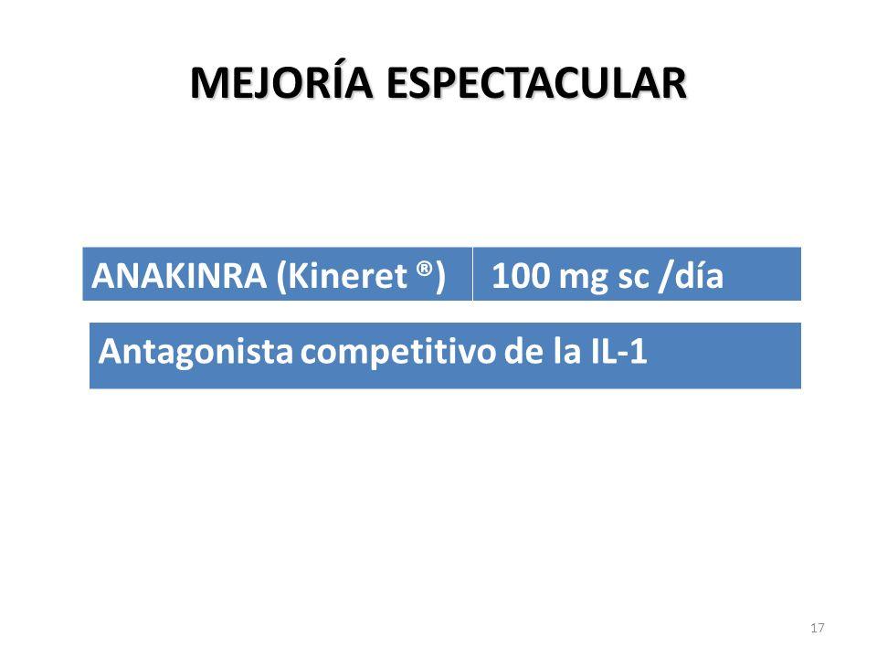 MEJORÍA ESPECTACULAR ANAKINRA (Kineret ®) 100 mg sc /día