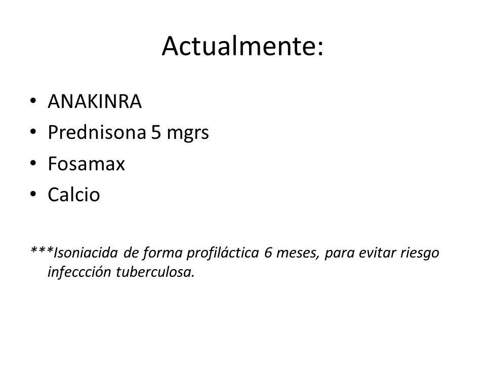 Actualmente: ANAKINRA Prednisona 5 mgrs Fosamax Calcio