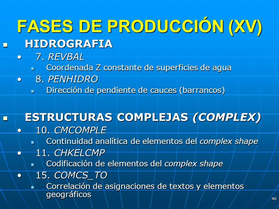 FASES DE PRODUCCIÓN (XV)
