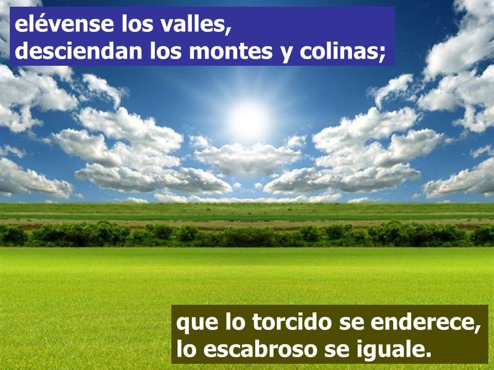 elévense los valles, desciendan los montes y colinas;