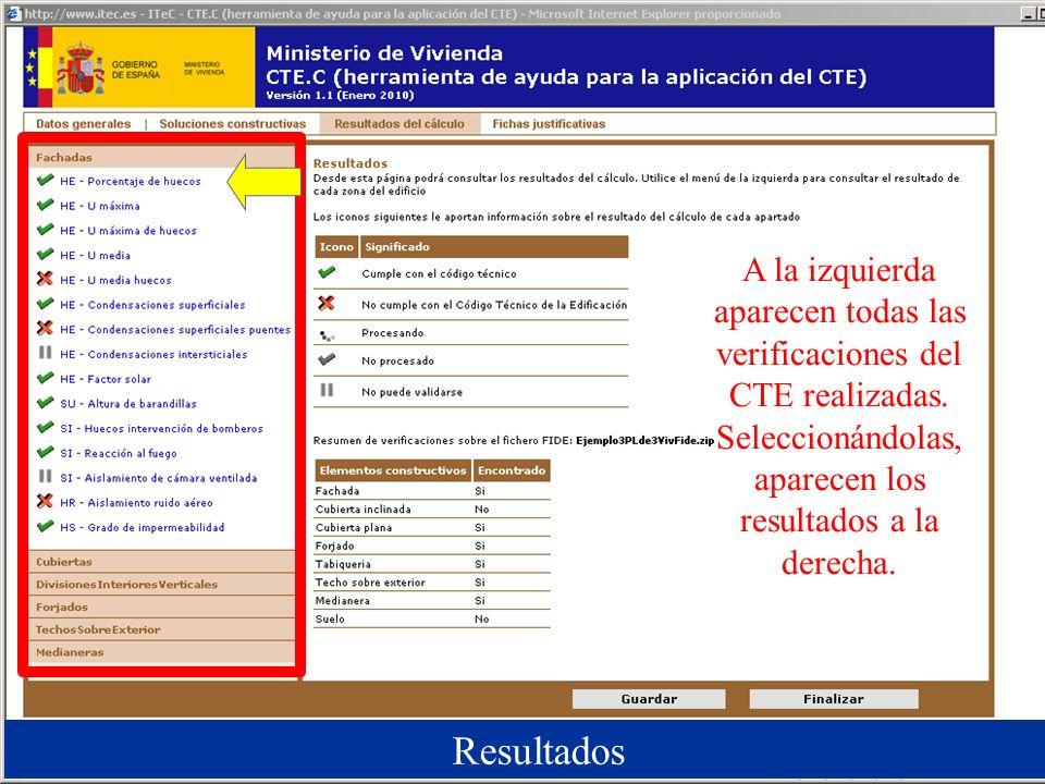 A la izquierda aparecen todas las verificaciones del CTE realizadas