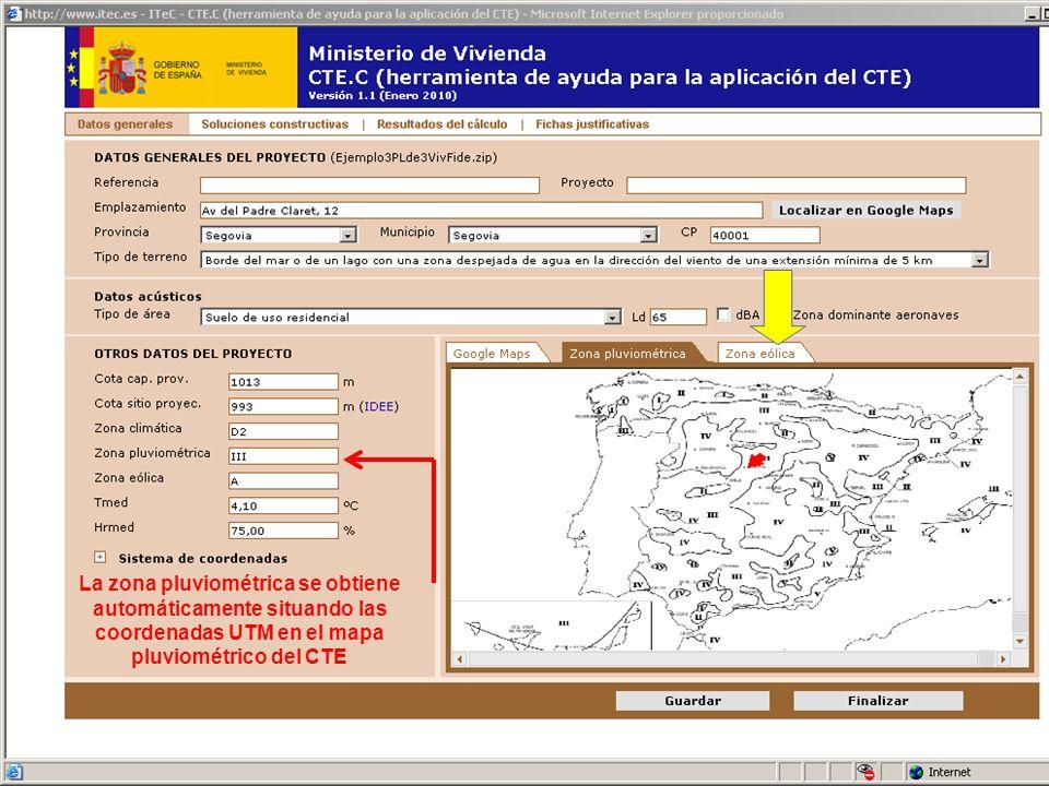La zona pluviométrica se obtiene automáticamente situando las coordenadas UTM en el mapa pluviométrico del CTE