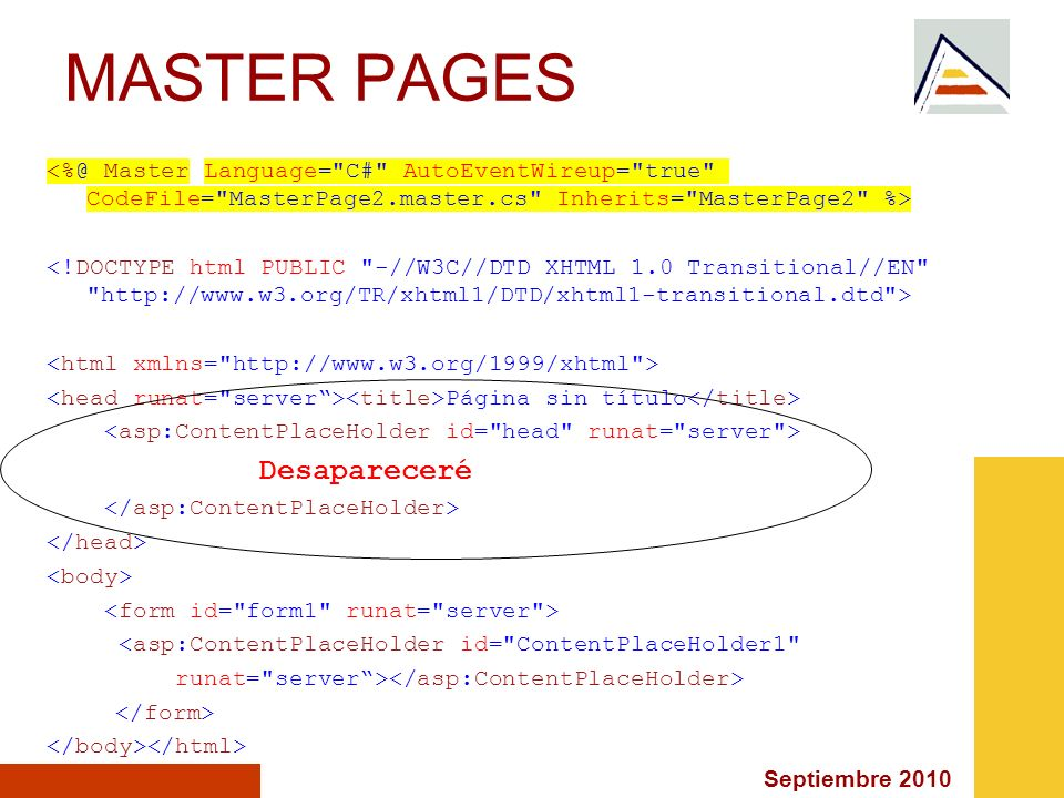 MASTER PAGES <%@ Master Language= C# AutoEventWireup= true CodeFile= MasterPage2.master.cs Inherits= MasterPage2 %>