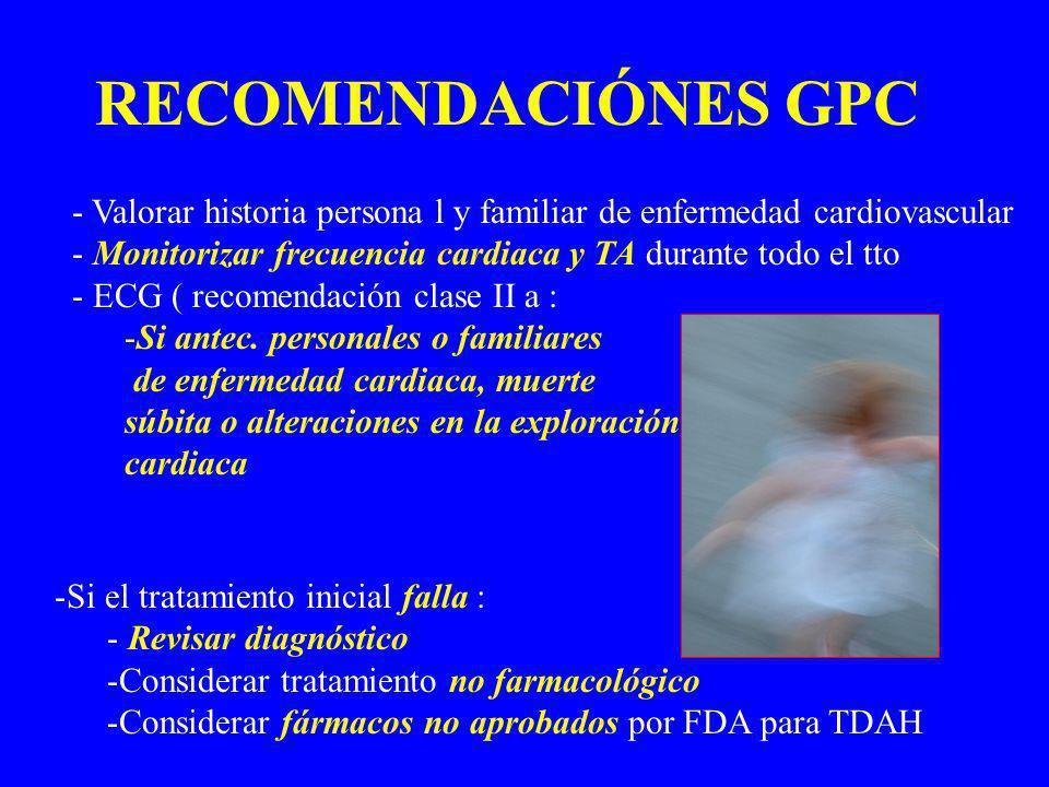 RECOMENDACIÓNES GPC Valorar historia persona l y familiar de enfermedad cardiovascular. Monitorizar frecuencia cardiaca y TA durante todo el tto.