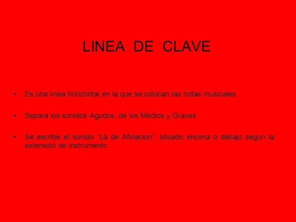 LINEA DE CLAVE Es una línea horizontal en la que se colocan las notas musicales. Separa los sonidos Agudos, de los Medios y Graves.