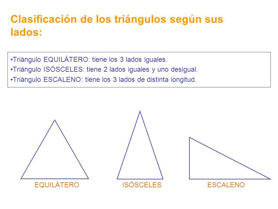 Clasificación de los triángulos según sus lados: