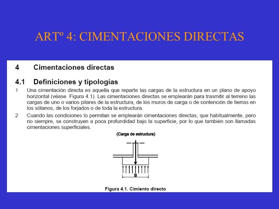 ARTº 4: CIMENTACIONES DIRECTAS