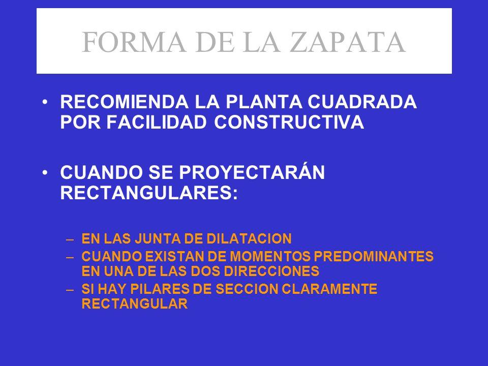 FORMA DE LA ZAPATA RECOMIENDA LA PLANTA CUADRADA POR FACILIDAD CONSTRUCTIVA. CUANDO SE PROYECTARÁN RECTANGULARES:
