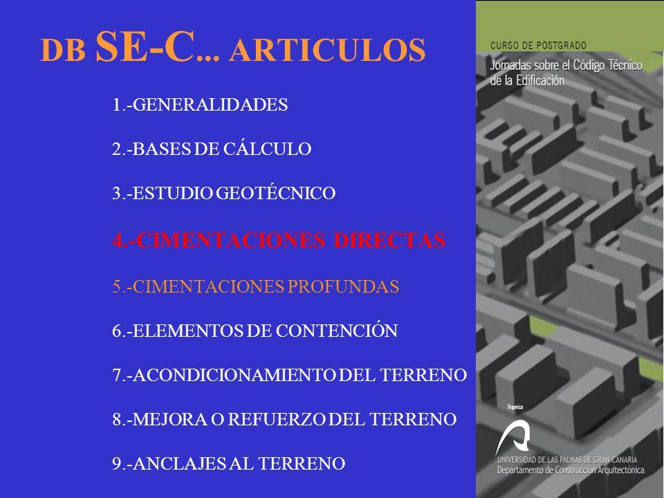 DB SE-C. ARTICULOS. 1. -GENERALIDADES. 2. -BASES DE CÁLCULO. 3