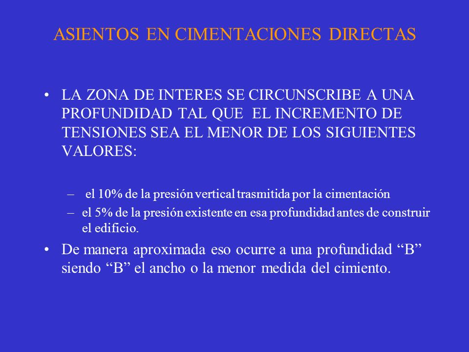 ASIENTOS EN CIMENTACIONES DIRECTAS