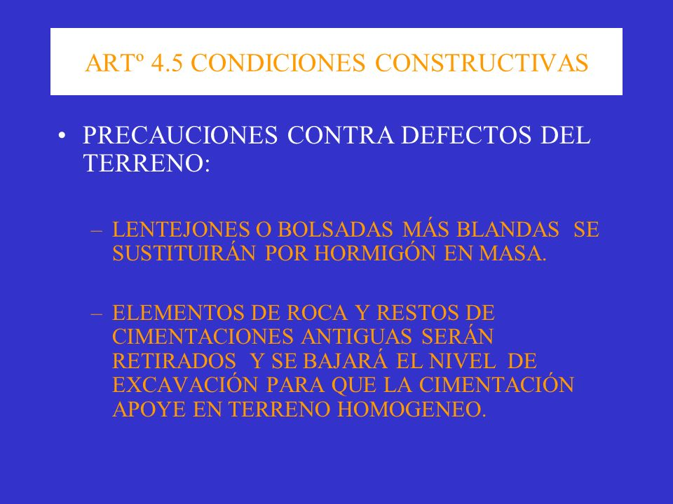 ARTº 4.5 CONDICIONES CONSTRUCTIVAS