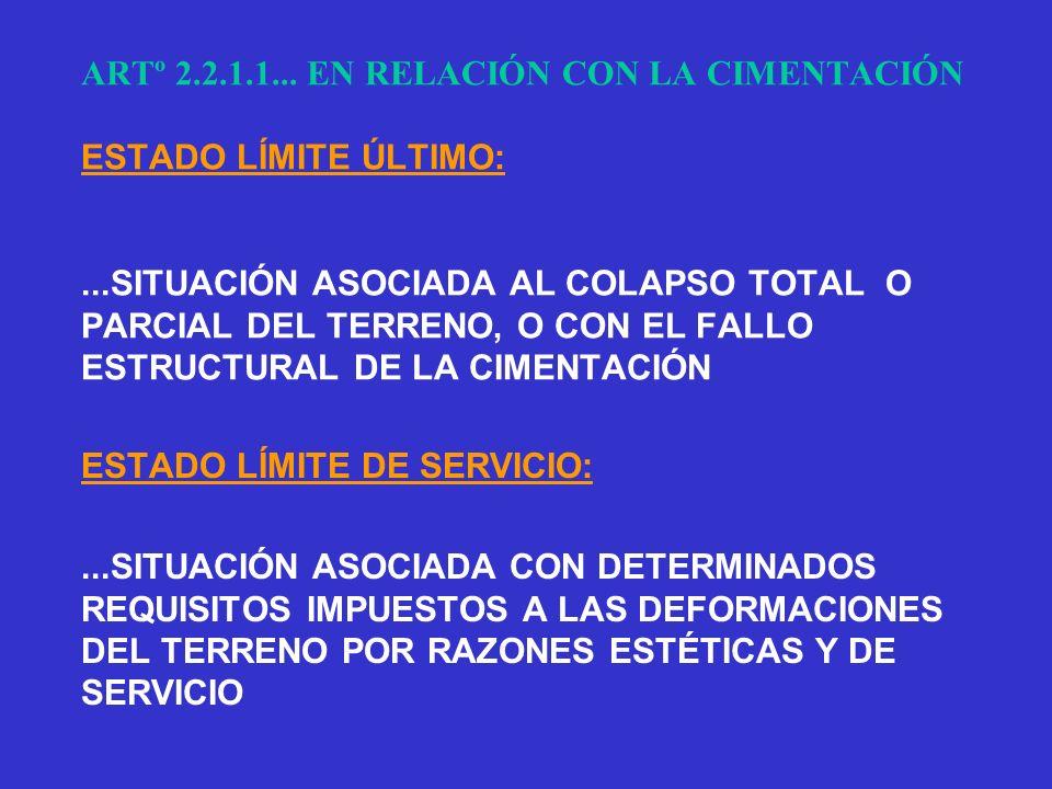 ARTº 2. 2. 1. 1. EN RELACIÓN CON LA CIMENTACIÓN ESTADO LÍMITE ÚLTIMO: