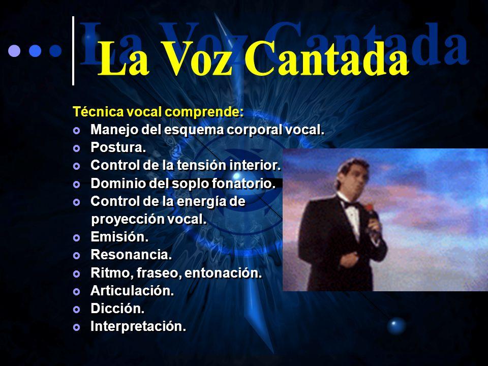 La Voz Cantada Técnica vocal comprende:
