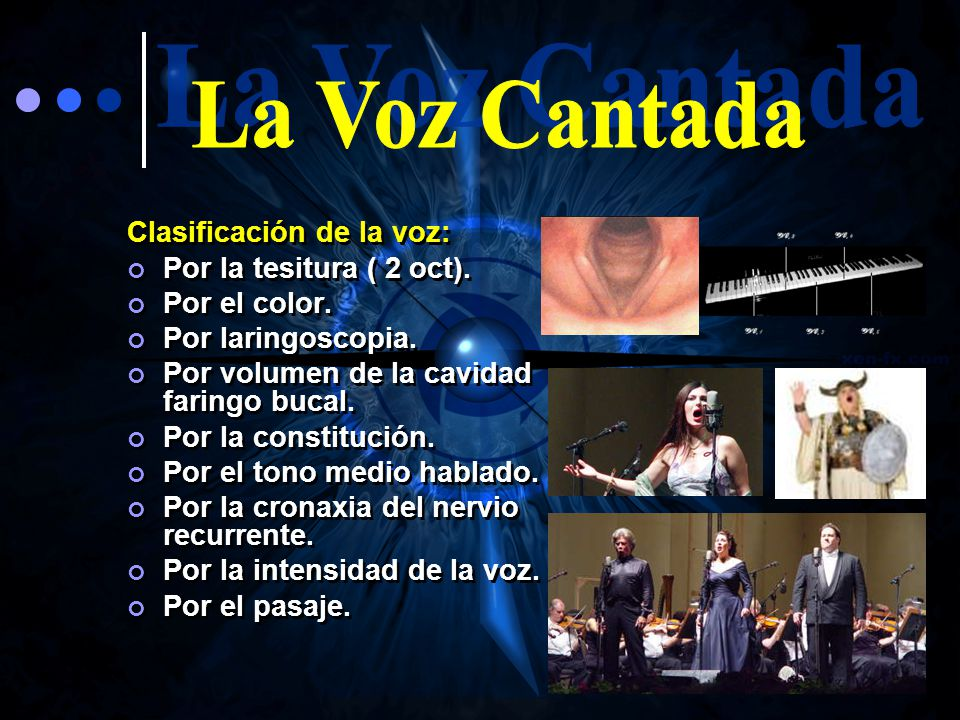 La Voz Cantada Clasificación de la voz: Por la tesitura ( 2 oct).