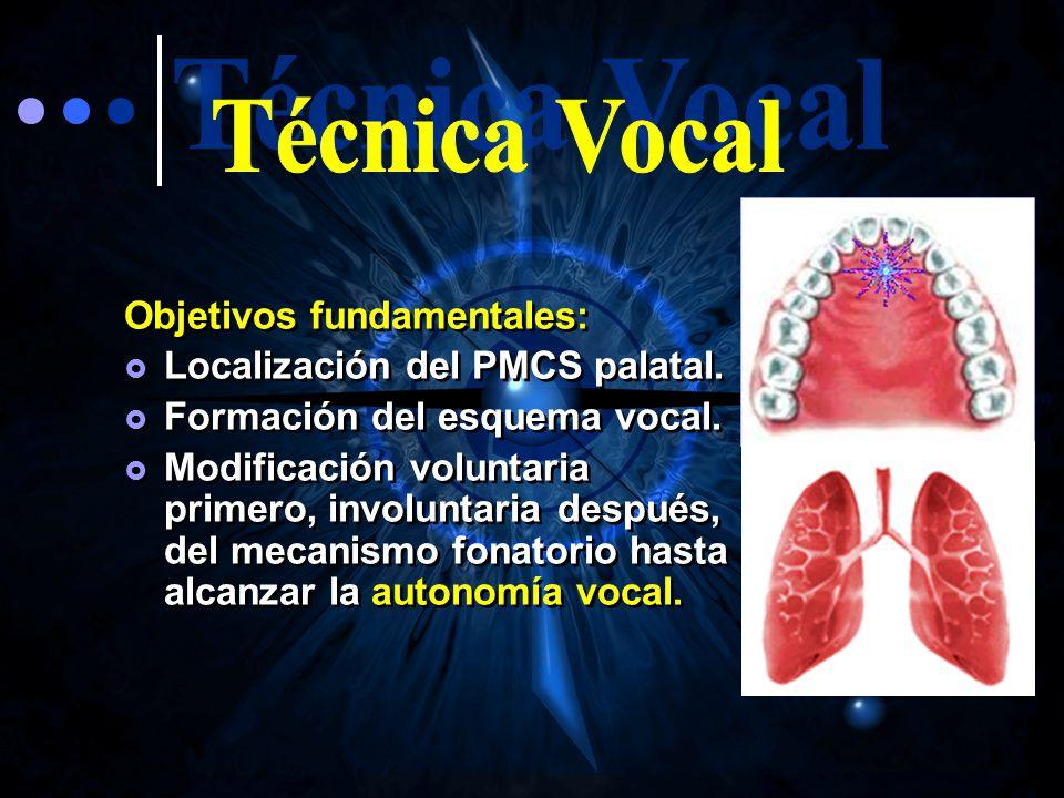 Técnica Vocal Objetivos fundamentales: Localización del PMCS palatal.
