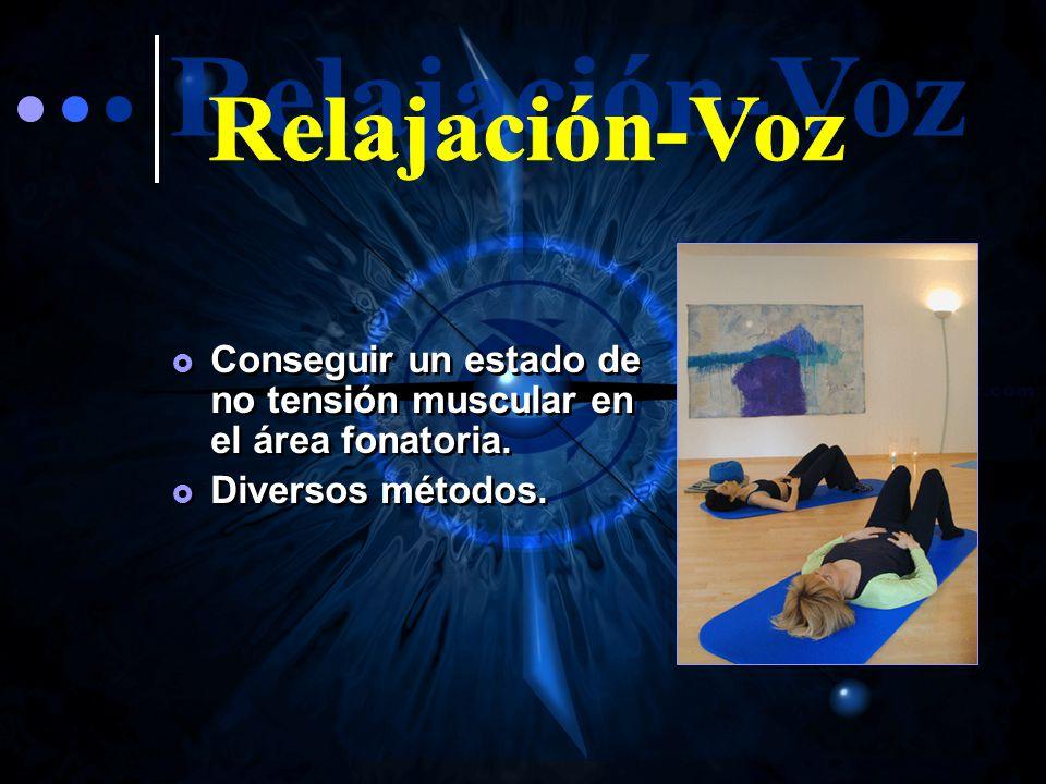 Relajación-Voz Conseguir un estado de no tensión muscular en el área fonatoria. Diversos métodos.