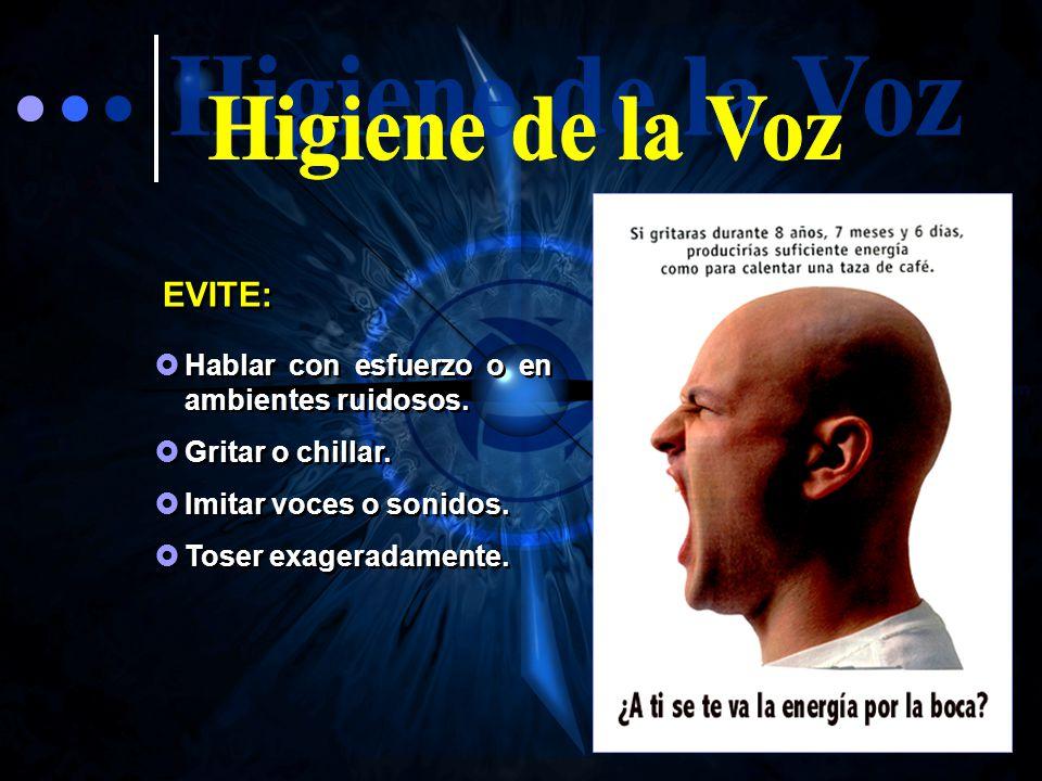 Higiene de la Voz EVITE: Hablar con esfuerzo o en ambientes ruidosos.
