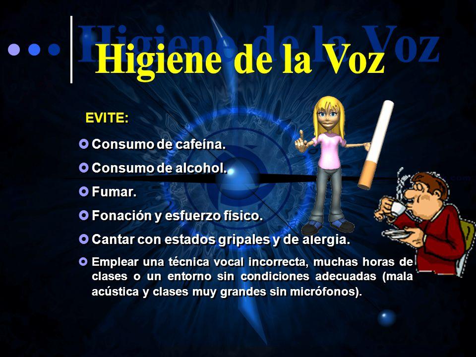 Higiene de la Voz EVITE: Consumo de cafeína. Consumo de alcohol.