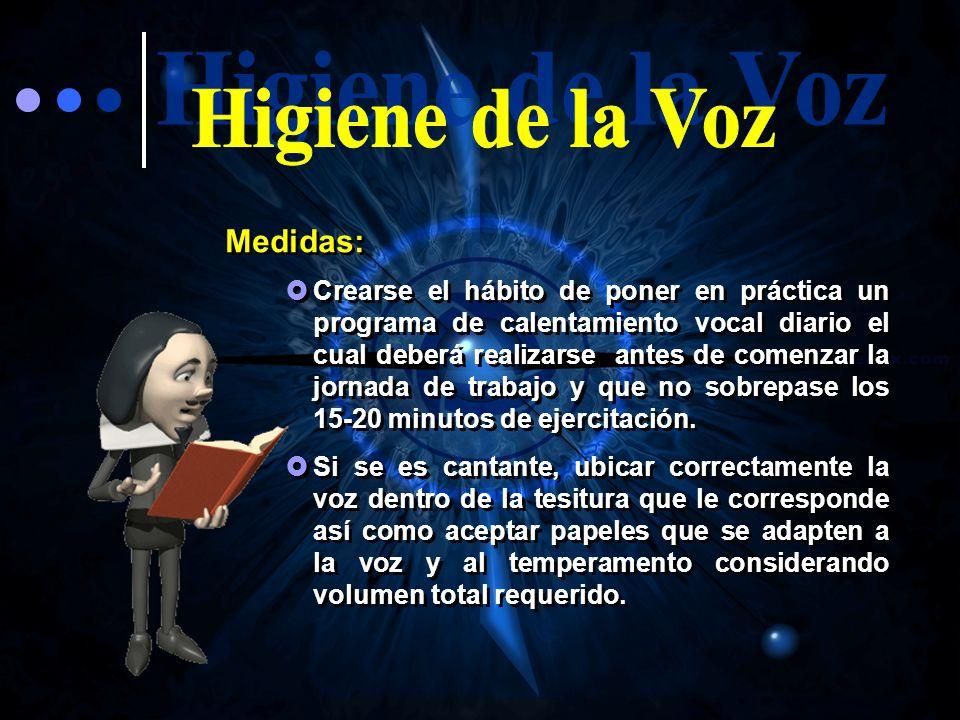 Higiene de la Voz Medidas: