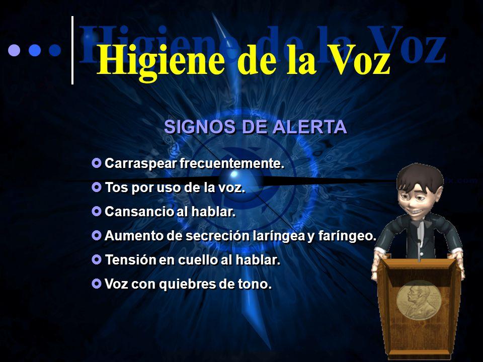 Higiene de la Voz SIGNOS DE ALERTA Carraspear frecuentemente.